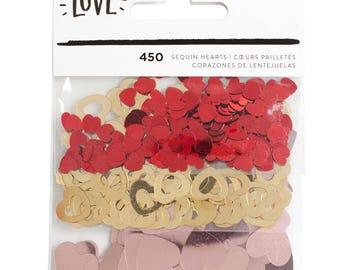 Crate Paper Hello Love Sequin Hearts -- MSRP 3.00