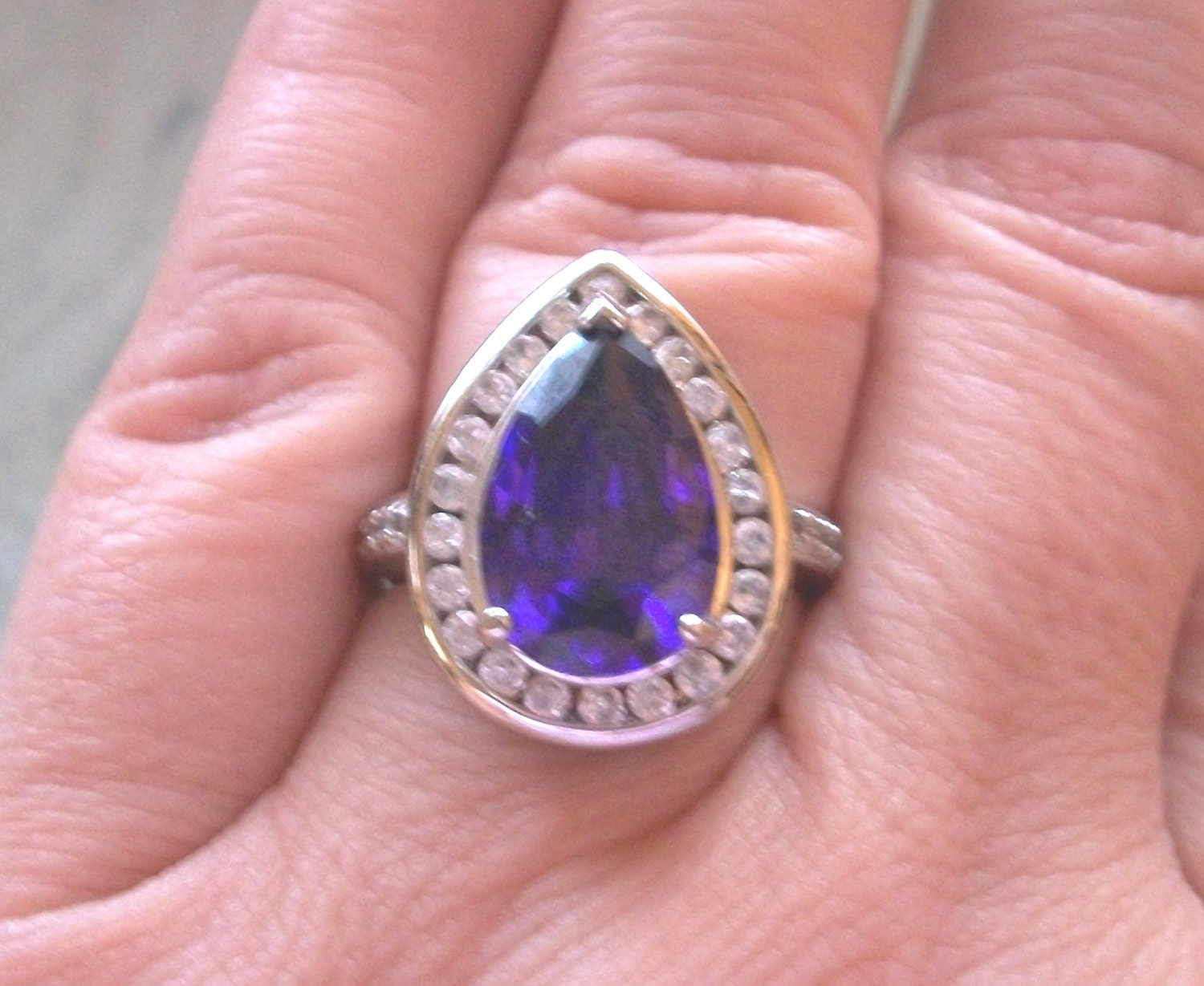 Vintage Pre-owned signed 925 CZ R China Sterling silver