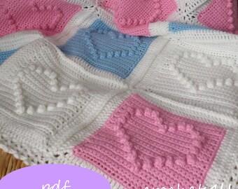 crochet pattern, heart afghan, crochet blanket pattern, baby blanket pattern, bobbel stitch pattern