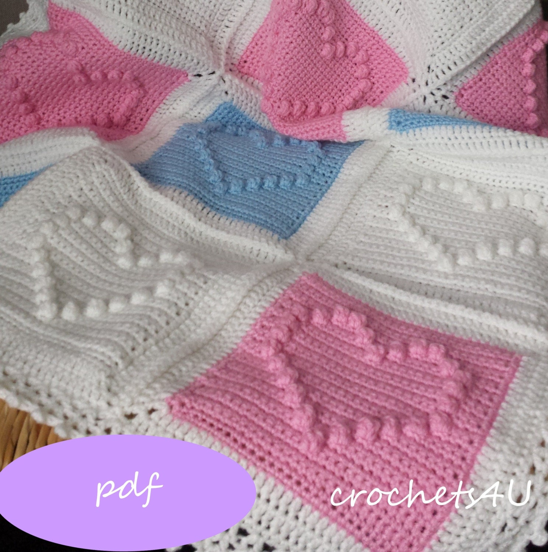 Crochet pattern heart afghan crochet blanket pattern baby blanket crochet pattern heart afghan crochet blanket pattern baby blanket pattern bobbel stitch pattern from crochets4u on etsy studio dt1010fo