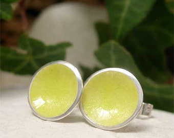 Enamel Post Earrings, Lemon Earrings, Dome Earrings, Yellow Stud Earrings, Disc Stud Earrings, Sterling Silver Spring Jewelry, Beach Jewelry