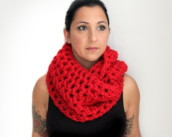 Crochet Red Oversized Infinity Scarf, Cherry Red Extra Long and Extra Wide Chunky Infinity Scarf t