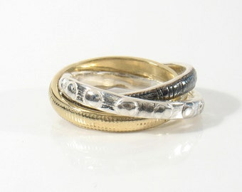 Solid 9K  and sterling silver Wide Tricolor Rolling Ring--Russian Wedding Band--Interlocking Bands--Multicolored Ring.