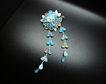 TSUMAMI KANZASHI Chirimen hair clip (blue)
