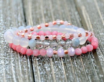Pretty Pale Pink and Rose Beaded Bracelet Set