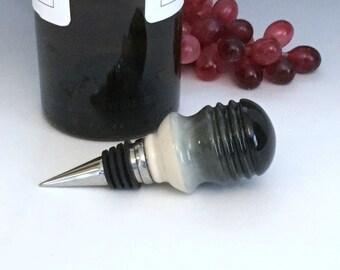 Ceramic Wine Bottle Stopper, Porcelain Wine Bottle Stopper, Ombré Black and White Bottle Stopper, Wine Lover's Gift, Pottery Bar Accessory