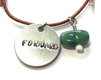 Forward   Hand Stamped Leather Bracelet