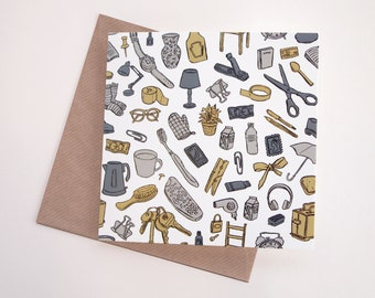Everyday Objects Pattern Art Greeting Card | Any Occasion | Blank Inside