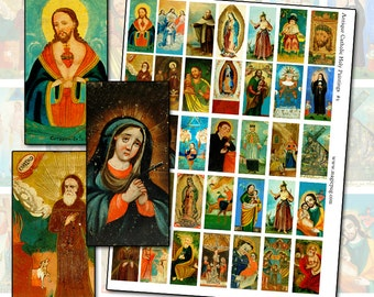 Antique Catholic Paintings II  domino sized digital collage sheet 1x2 in Lady of Guadalupe 25mm x 50mm rectangle pale green folk naïve