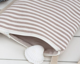 A handmade  small crossbody bag in beige striped cotton, perfect for a womens gift or to birthday gift