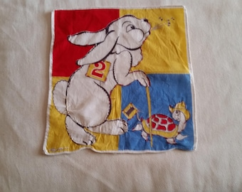 Vintage child's Tom Lamb hanky Tortoise and the Hare