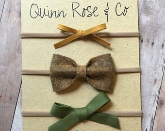 Havana Gold Bow Set || Baby Headband || Baby Girl Bow || Tan Bow || Mustard Bow || Felt Bow || Vintage Bow || Quinn Rose & Co. Bows