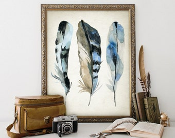 Blue Watercolor Feathers Print - Blue Room Decor - Modern Home Decor - Bird Feather Giclee Poster - Watercolour Painting Art