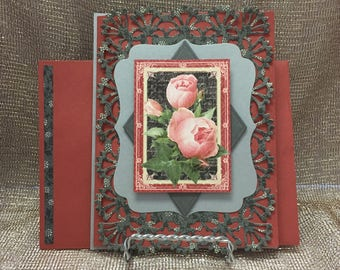 "Pink Rose Lattice Card with Coordinating Envelope (5"" x 6.5"") Blank Inside"