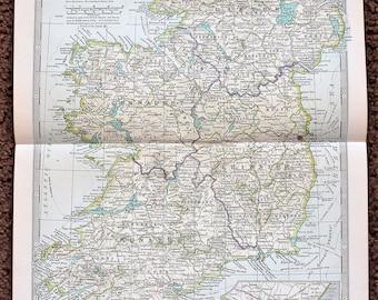 1906 Ireland Map Munster Meath Dublin Wexford Railroad Routes ORIGINAL