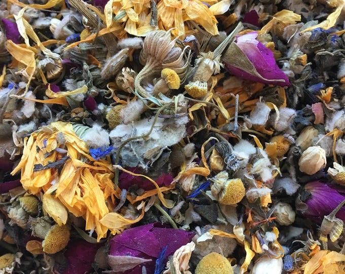 Women's Moon Time Tea   Vitex, Raspberry, Chamomile, Cramp Bark, Green Tea, Roses, Calendula, Sage Tea   Cramp Relief, Hormone Balance