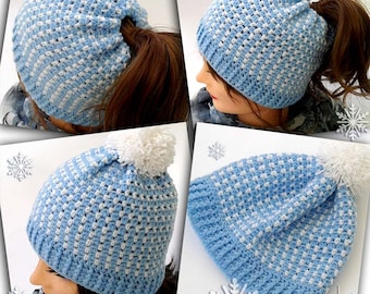 MARY hat crochet pattern - Messy bun hat or pom pom hat crochet pattern - Child, teen and adult size! Pattern No. 210