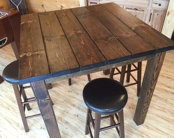 Superbe 36 Square Rustic Reclaimed Wood/Bar Table Bar Height