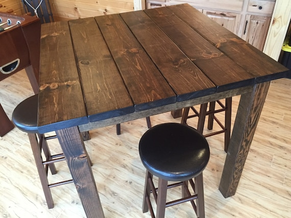 Delightful 36 Square Rustic Reclaimed Wood/Bar Table Bar Height