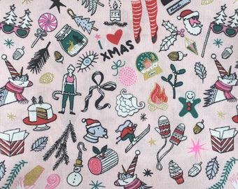 Rico Design fun festive icons cotton fabric fat quarter, modern Christmas fabric, unicorn fabric