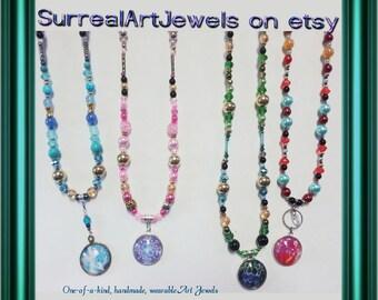 Art Jewel Necklace Handmade Jewelry - plus bonus free gift!