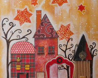 Village Painting Winter Houses Whimsy Mixed Media Snow Landscape Christmas Neighborhood Scene Red Yellow Stars Bare Trees Colorful Painting