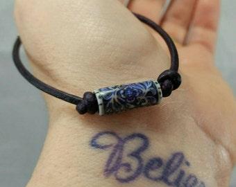 Secret Garden Mood Bead Bracelet, Leather Mood Bead Jewelry, Friendship Bracelets, Meaningful Gifts, Color Changing Bracelet, Hippie Jewelry