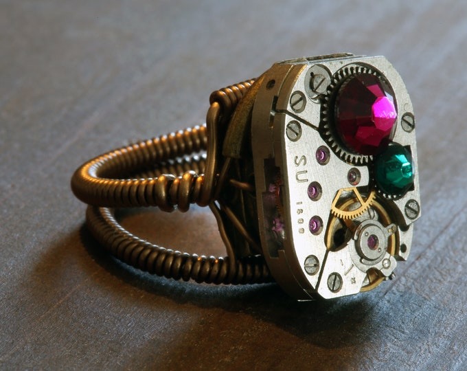 Steampunk Jewelry - Watch Movement Steampunk Ring with Ruby and Emerald Crystals by Catherinette Rings
