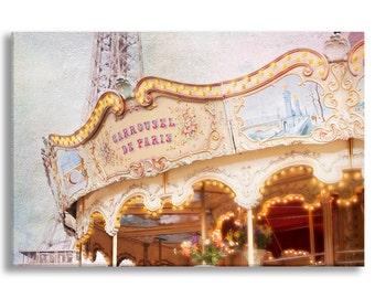 Paris Photo on Canvas, Carrousel de Paris, Nursery Decor, Photo on Canvas, Large Wall Art
