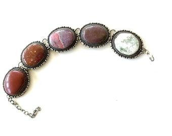 Vintage Earthy India Stone Cabochon Chunky Bracelet / Statement Jewelry / Gypsy Bracelet / Bohemian Jewelry