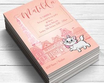 Marie Aristocats Invitations, Girls Birthday Party Invitations, French Party Invites, Aristocat birthday party, Cat invitations, cat lover