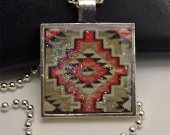 Southwestern Art Resin Pendant Necklace