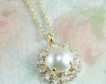 Pearl pendant necklace,pearl necklace,pearl bridesmaid necklace,pearl bridal necklace,pendant necklace,cream pearl necklace,swarovski pearl