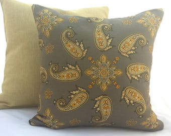 """Brown Paisley Cushion Cover. Decorative Pillow Fits a 20"""" x 20"""" pillow insert"""