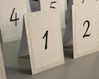 """Wedding Table - Table Numbers - Silver Glitter - Gold Glitter - Tented - Reception Table Numbers - Tented Table Numbers - 4"""" x 6"""""""