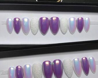 White/Purple Magic Unicorn Chrome Iridescent Glitter Press On Nails |Fake Nails | False Nails | Glue On Nails