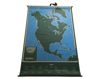 Writeable Hanging Map - North American Weather - French Language - Minimalist Design - Earth Decor - Canada - United States - Mexico