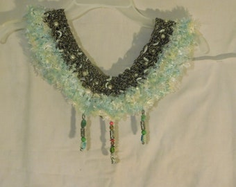 Pale green and grey cowl necklace