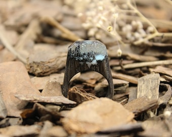 Winter world, Wood ring, Landscape ring, massive ring, Wood resin ring, glow ring, Statement ring. In stock 6 1/2 size