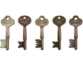Tim Holtz Idea-Ology Halloween Word keys  - halloween charms - halloween key charm