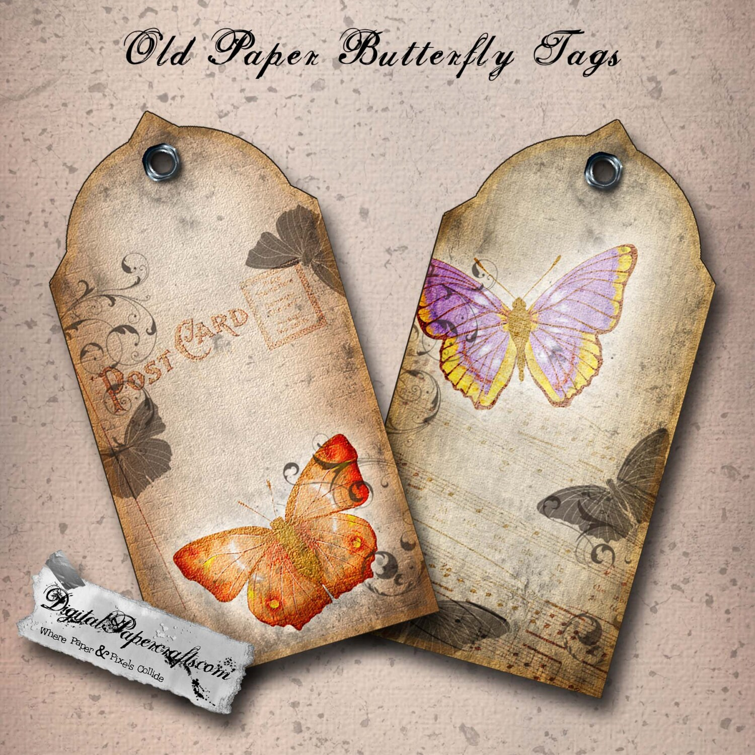 Vintage paper butterfly printable tags distressed gift tag sheet vintage paper butterfly printable tags distressed gift tag sheet digital collage sheet art journal digital scrapbooking paper craft jeuxipadfo Choice Image