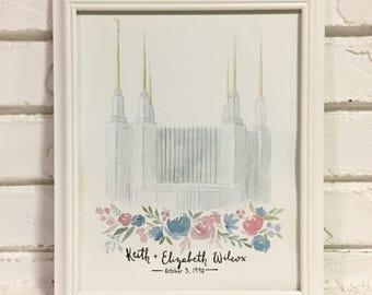 Custom LDS Temple Watercolor