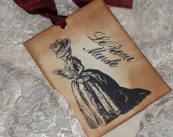 Vintage Marie Antoinette Le Beau Monde Gift Tags Hand Stamped and Distressed Marie Antoinette Le Beau Monde Collection