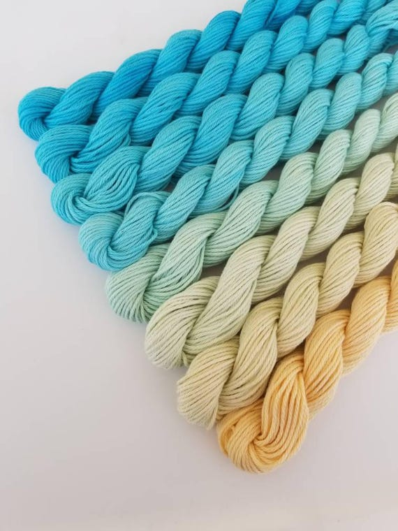 "Ocean View- ""Coney Island Collection"" 100 Organic Cotton, Hand Dyed Fingering Weight Ombre"