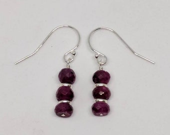 Red ruby earrings. Your choice of gold filled or sterling silver.  Red ruby dangle earrings.
