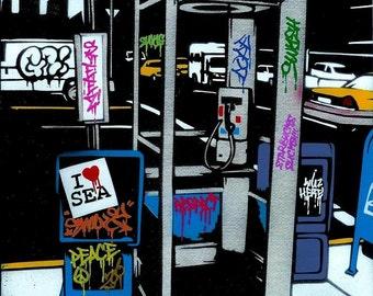 8.5x11 Graffiti Phone Booth Stencil Art Print