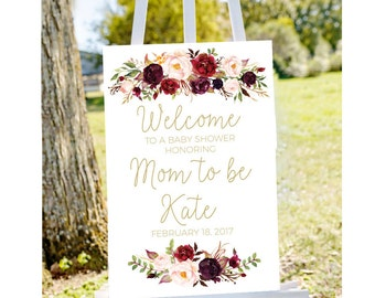 Baby shower welcome sign, Welcome to baby shower sign, red baby shower, red roses baby shower, printable welcome, red floral shower