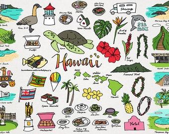 Hawaii Clipart - monuments clipart, places & cities clipart, hand drawn clipart, locations clipart, tropical island, hibiscus, hawaiian food