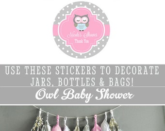 Owl Baby Shower Favor Labels Owl Baby Shower Stickers Owl Stickers Owl Labels Owl Baby Shower Labels (EB4007B-MP) set of 24| STICKERS ONLY