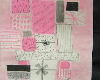 """Little Pink Gift Man - Tissue paper piece suitable for framing and wall hanging. on 8.5 x11""""  paper."""